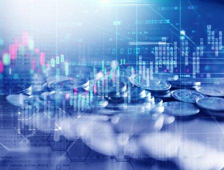 Photo pour Double image d'exposition du graphique d'investissement boursier et pile de pièces, concept d'entreprise - image libre de droit
