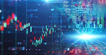 Photo pour Illustration de graphique de marché boursier financier, concept d'investissement des entreprises et négociation future d'actions . - image libre de droit