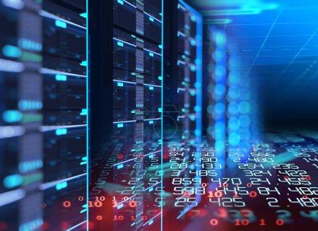 Corridor of  server room with server racks in data...