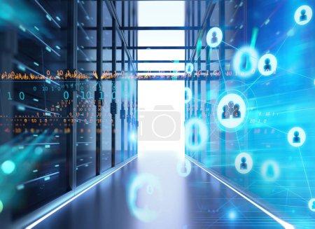 Server room 3d illustration with node base program...