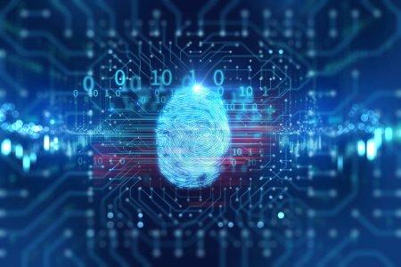 Fingerprint Scanning on blue technology  Illustration