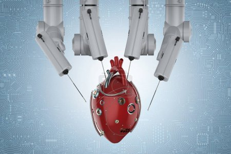 3d rendering robot surgery machine with robotic hear