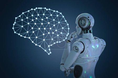 Photo pour Robot de rendu 3D avec la technologie de cerveau IA - image libre de droit