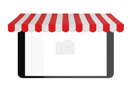 Photo for 3d rendering empty screen tablet with awning on white background - Royalty Free Image