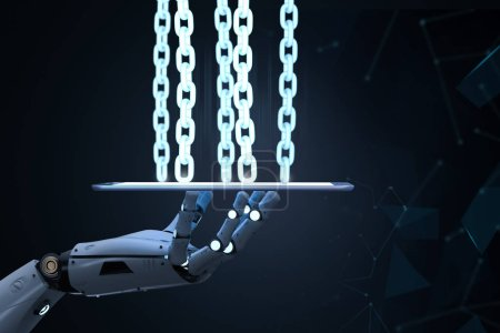 Photo for Blockchain Technology concept with 3d rendering robot arm with chain on tablet compute - Royalty Free Image