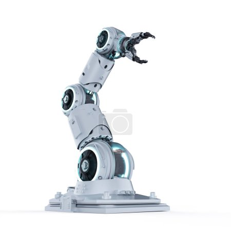 Photo pour Bras du robot 3D rendu blanc sur fond blanc - image libre de droit