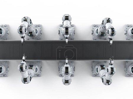 Photo pour Concept de branche d'Automation avec rendu 3d robot ligne d'assemblage en usine - image libre de droit