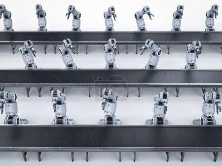 Photo pour Concept de l'industrie de l'automatisation avec chaîne d'assemblage de robots de rendu 3d en usine - image libre de droit