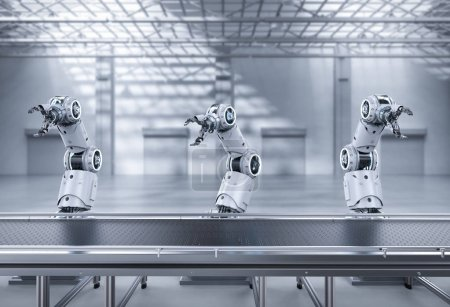 Photo for Automation industry concept with 3d rendering robot assembly line in  factory - Royalty Free Image