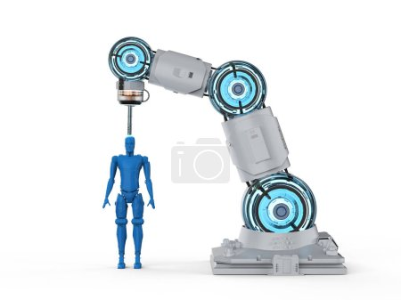 Photo for 3d rendering 3d printer printing human figure on white background - Royalty Free Image