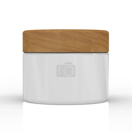 Photo pour Pot de cosmétique creaam rendu 3D ou récipient avec couvercle - image libre de droit
