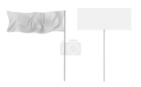 3d Rendering weiße Flagge und Banner isoliert auf weiß