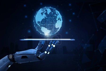 Photo pour Concept de technologie de mondialisation avec robot de rendu 3d avec connexion globale - image libre de droit