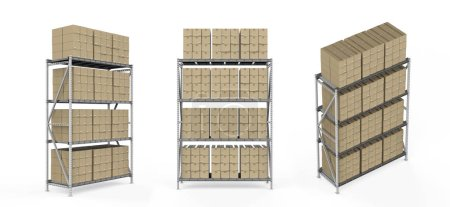 Photo for 3d rendering warehouse rack with cardboard boxes isolated on white - Royalty Free Image