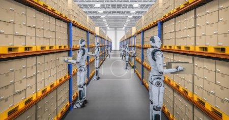 Photo pour Concept d'entrepôt d'automatisation avec rendu 3D cyborg travail en entrepôt - image libre de droit