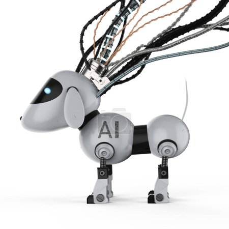 Photo for 3d rendering dog robot with wires on white background - Royalty Free Image
