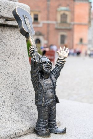 WROCLAW, POLAND - MAY 23, 2018: Bronze gnomes became a real symbol of Wroclaw and one of the main tourist attractions of the city in Poland.
