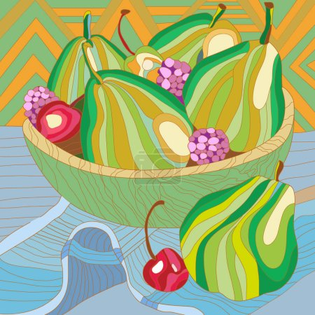 Photo for Still life with pears and berries. VEctor illustration - Royalty Free Image