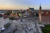 Panorama of Royal Castle in Warsaw during sunset