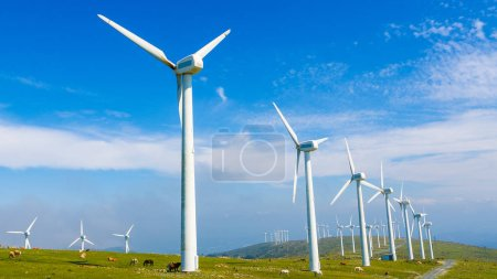 Photo for Onshore wind farm in the Northern part of Galicia, Spain. - Royalty Free Image