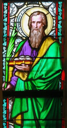 Photo for Prague, Czech Republic - April 2, 2016: Stained Glass in St. Vitus Cathedral, Prague, depicting Barnabas, born Joseph, an early Christian, one of the prominent Christian disciples in Jerusalem - Royalty Free Image