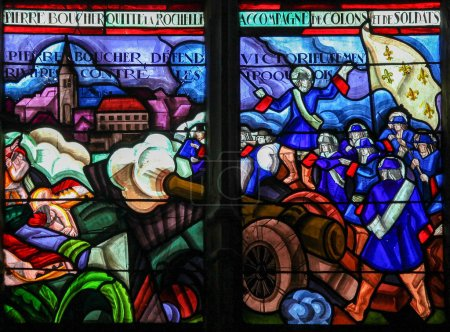 Photo for Mortagne-au-Perche, France - July 20, 2015: Stained Glass depicting Pierre Boucher and the French fighting the Iroquois in Quebec (17th Century) in the Notre Dame church of Mortagne, Perche, France - Royalty Free Image