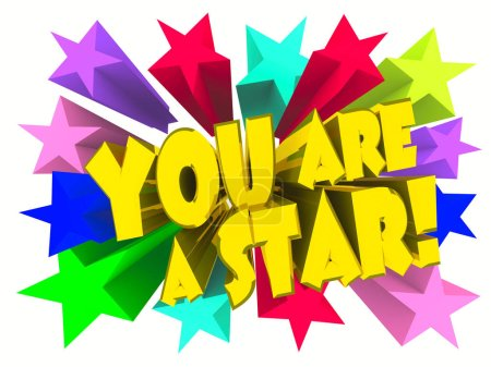 Photo for You Are A Star slogan. Golden text with vivid stars. 3d render - Royalty Free Image