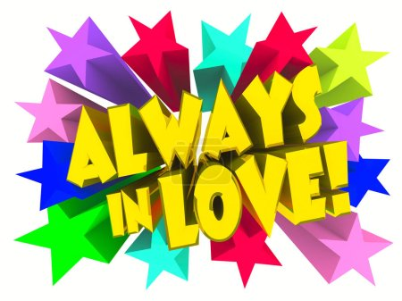 Photo for Always In Love slogan. Golden text with vivid stars. 3d render - Royalty Free Image