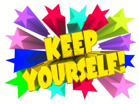 Photo for Keep Yourself slogan. Golden text with vivid stars. 3d render - Royalty Free Image