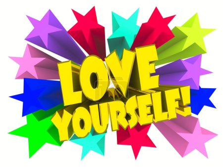 Photo for Love Yourself slogan. Golden text with vivid stars. 3d render - Royalty Free Image