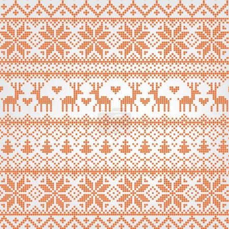 Illustration pour Modèle nordique rouge illustré traditionnel avec arbre de Noël cerf ane snnowflake.Simple vecteur illustré fond de Noël - image libre de droit