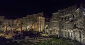 Italy, Rome, 02,01,2018 Roman Forum lit up at night, Rome, Italy. Beautiful night cityscape suitable for backgrounds.