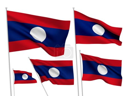 Lao Peoples Democratic Republic vector flags set. 5 wavy 3D flags fluttering on the wind. EPS 8 created using gradient meshes isolated on white background. Design elements from world collection