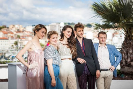 CANNES, FRANCE - MAY 15, 2018: Suzanne Rault-Bale, Sarah Calcine, Charlotte Le Bon, Jean Baptiste Sagory and Guillaume Kerbusch attend the photocall for Talents Adami 2018 during the 71st annual Cannes Film Festival