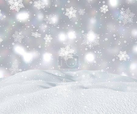 Photo pour Rendu 3D d'un paysage enneigé avec des flocons de neige tombant - image libre de droit