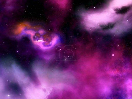 Foto de Render 3D de un cielo abstracto con las estrellas y nebulosa - Imagen libre de derechos