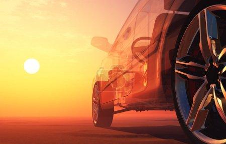 Photo pour Verre auto sur fond de coucher de soleil .3d render - image libre de droit