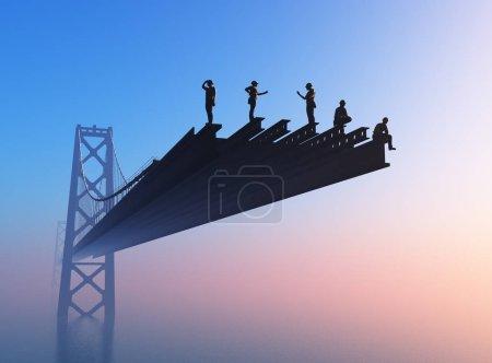 Brücke mit Arbeitern auf blauem Hintergrund. ,3d rendern