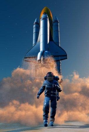 Photo for Astronaut on the background of a spaceship.,3d render - Royalty Free Image