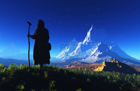 Photo for Priest piously on the mountain.3d render - Royalty Free Image