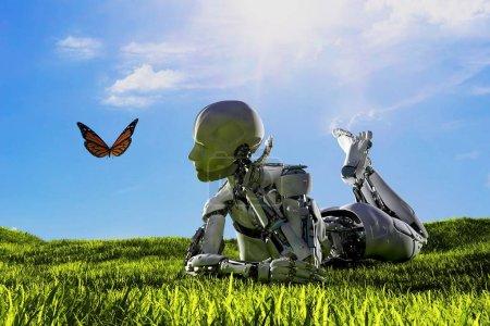 Photo pour Robot et papillon sur l'herbe. 3d rendu - image libre de droit