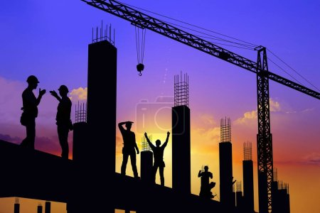 Photo for Silhouette of the workers on a background of the sky ,3d render - Royalty Free Image