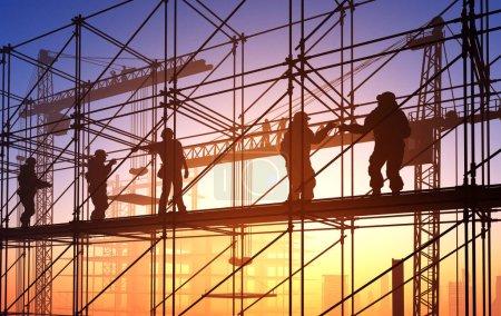 Photo pour Silhouette des ouvriers sur fond de ciel, rendu 3d - image libre de droit