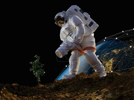 Photo for Astronaut with a camera on the planet..3d render - Royalty Free Image