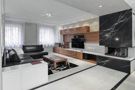 modern living room interior with black leather sofa