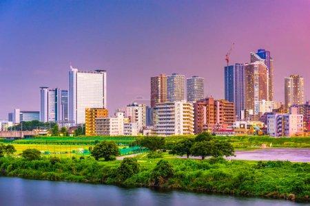 Kawasaki Japan city skyline at