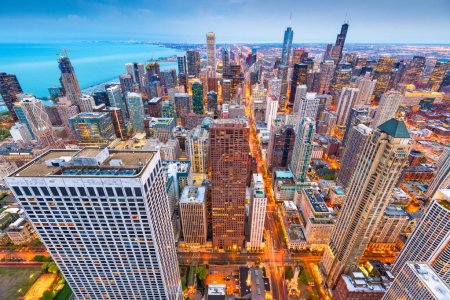 Chicago, Illinois, USA aerial cityscape at dusk.