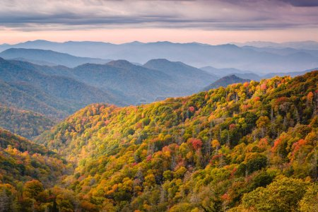 Great Smoky Mountains National Park, Tennessee, USA overlooking the Newfound Pass in autumn.