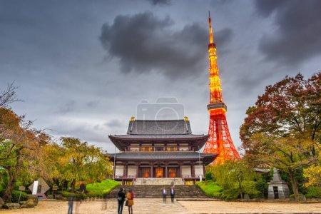 Tokio, Japón torre y templo al atardecer .
