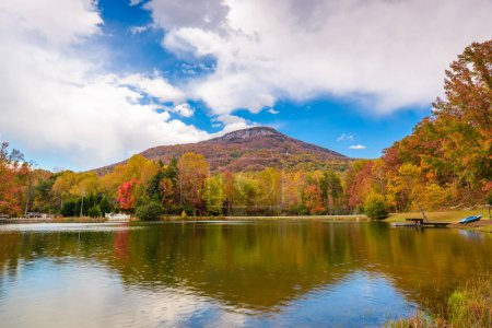 Photo for Yonah Mountain, Georgia, USA autumn landscape and lake. - Royalty Free Image